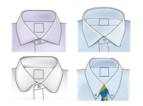 上排为:敞角领 下排位:圆角领、纽扣领