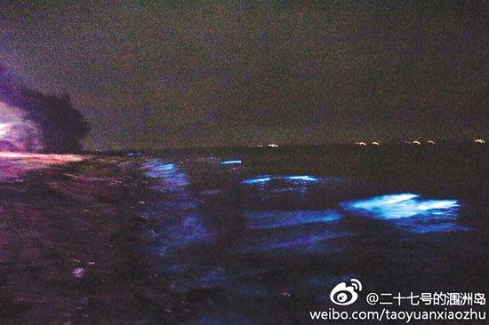5月8日晚,涠洲岛一片海滩发出荧光。 新浪微博网友@二十七号涠洲岛供图