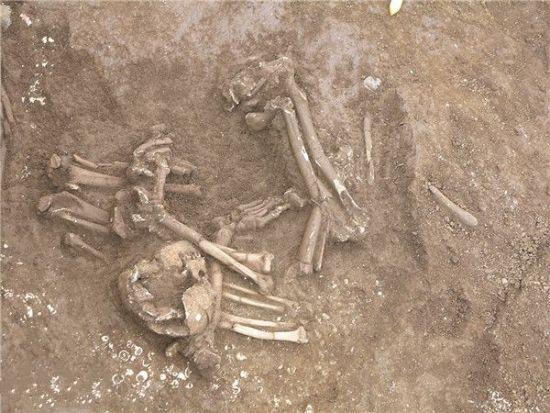 图为墓葬中的肢解葬。广西文物保护与考古研究所供图