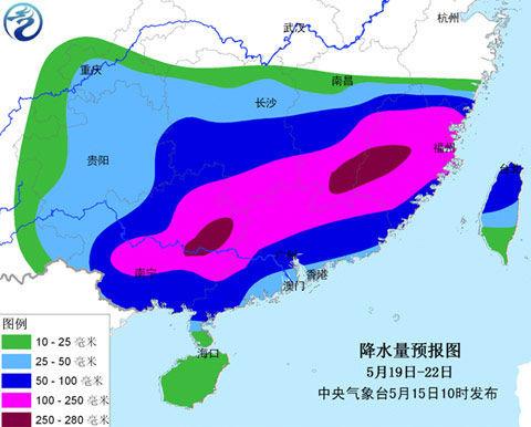 降水量预报图(5月19日至22日)