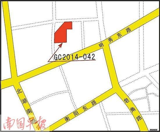 2014-042号地块位置示意图。 图片来自南宁市国土资源局网站