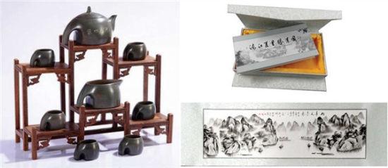 象山水月壶(左),百里漓江胜景图(右) (资料图片)
