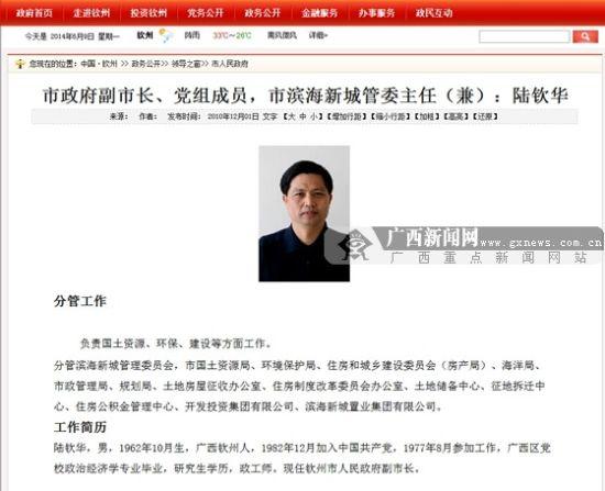钦州市人民政府网站领导之窗栏目显示陆钦华分管的工作和工作简历。图片来源:钦州市人民政府网站