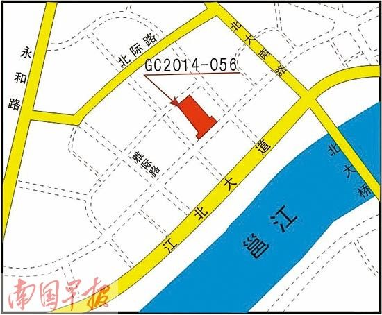 C2014-056号地块位置示意图。 南宁市国土资源局网站供图