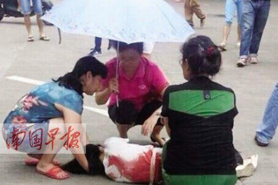"""马某的姐姐被捅伤后,学院的老师为其撑伞遮阳,等待120前来抢救。 网友""""南宁吃货王""""摄"""