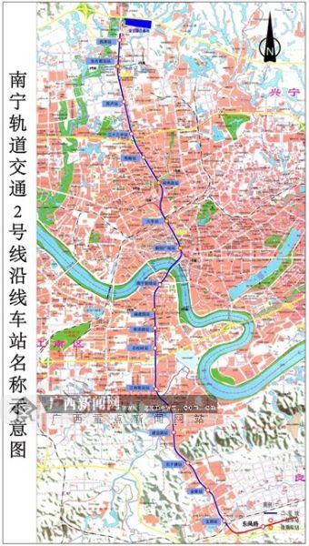 南宁地铁2号线沿线车站示意图。南宁轨道公司供图。