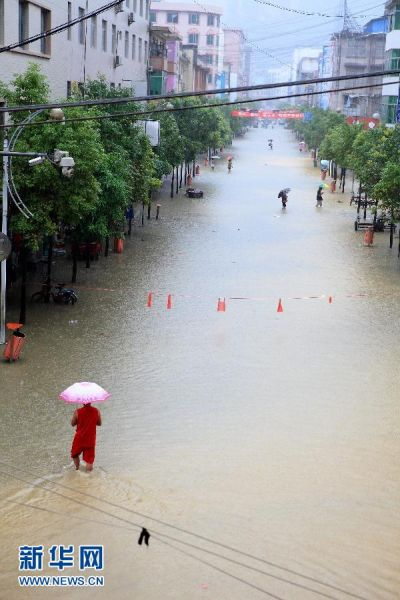 广西河池市凤山县遭受暴雨袭击