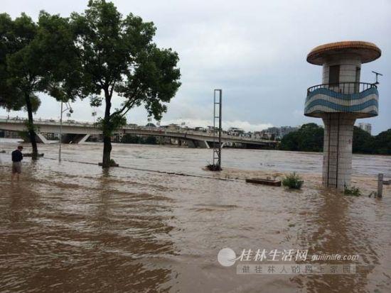 7月5日,漓江市区段水情。
