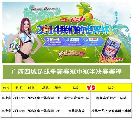 广西四城足球争霸赛冠中冠半决赛赛程
