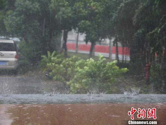 """7月22日下午,持续多日高温天气的广西柳州突降暴雨,并夹杂着冰雹,让市民体验了一把""""过山车""""天气。 王运鹏 摄"""