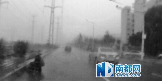 程善道冒雨下车扶起老人,并蹲在一旁为老人撑伞等候救护车。行车记录仪视频截图