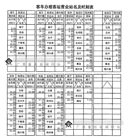客车办理客运营业站名及时刻表