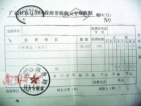上思县林业局收取育林基金后出具的收据(复印件)。图片来源:南国早报