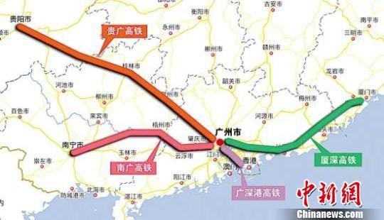 贵广南广铁路示意图 资料图
