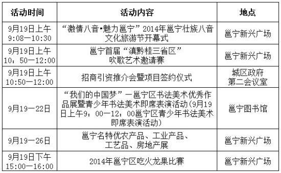 邕宁壮族八音文化旅游节活动安排表