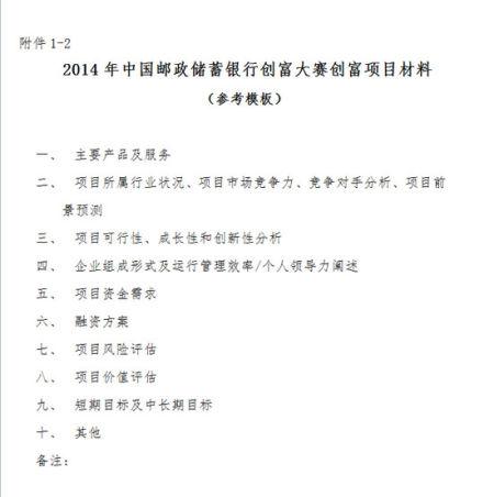 2014年中国邮政储蓄银行创富大赛创富项目材料(参考模板)