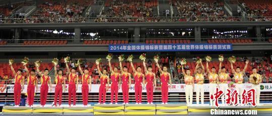 资料图:2014年全国体操锦标赛暨第四十五届世界体操锦标赛测试赛现场。 南宣 摄