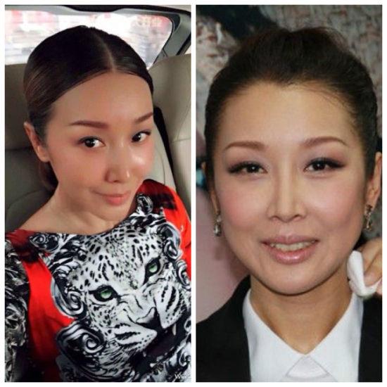 孙悦近照(左)与之前图片对比